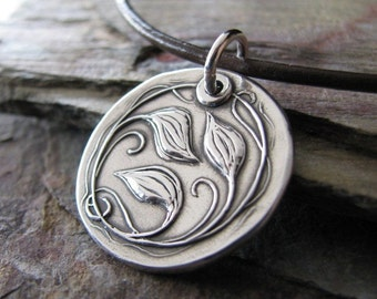 Personalized Silver Jewelry, Everlasting, Artisan Fine Silver Metal Clay Pendant, Vines and Leaves