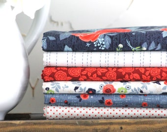 Hedge Rose by Kelly Panacci for Penny Rose Fabrics/Riley Blake ~ 6 Fat Quarter Bundle Red and Blue Bundle