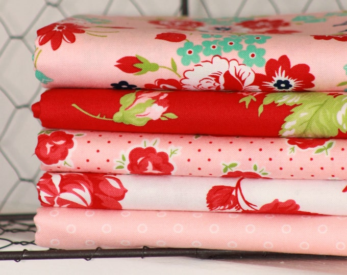 Smitten by Bonnie & Camille for Moda ~ 5 Fat Quarter Bundle ~ Red and Pink Bundle