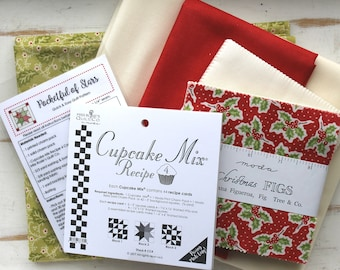 """Pocketful of Stars Tablerunner Quilt Kit ~ Christmas Figs by 3 Sisters ~ 26.5"""" x 40.5"""" ~"""