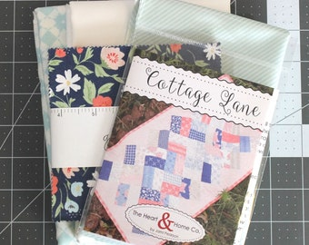 "Cottage Lane Quilt Kit ~ Garden Variety by Lella Boutique ~ Aqua print Backing Included ~ 20"" x 37"""