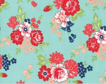 Smitten by Bonnie & Camille for Moda 55171 12 Bouquet Aqua ~5 Yard Backing~