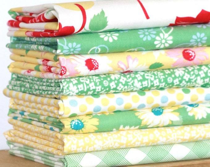 Cheeky by Urban Chiks for Moda ~ 8 Fat Quarter Bundle - Buttercup and Stem Bundle