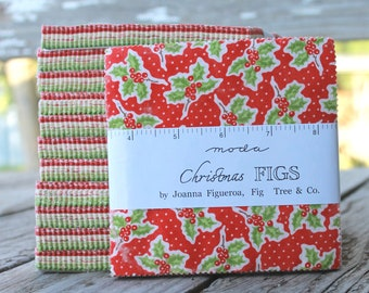 """Christmas Figs by Fig Tree and Co for Moda Charm Pack 5"""" Squares"""
