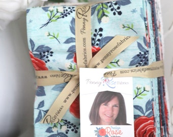 Hedge Rose by Kelly Panacci for Penny Rose Fabrics/Riley Blake ~ 18 Fat Quarter Bundle Red and Blue Bundle