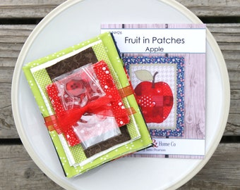 "Fruits in Patches ~ Apple ~ Mini Wall Hanging Quilt Kit  12.5"" x 15"""