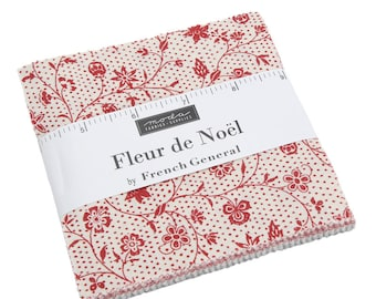 """Fleur de Noel by French General for Moda Charm Pack 5"""" Squares"""