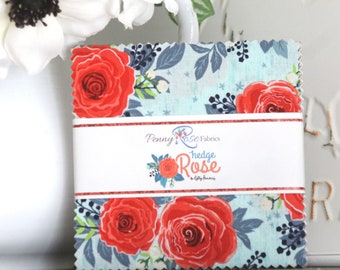 """Hedge Rose by Kelly Panacci for Penny Rose/Riley Blake Designs Charm Pack 5"""" Squares"""