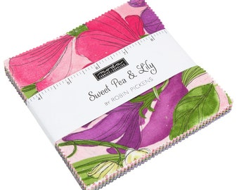 """Sweet Pea and Lily by Robin Pickens for Moda Charm Pack 5"""" Squares"""