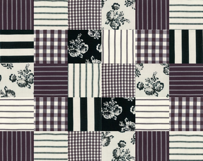 Urban Cottage WOVENS by Urban Chiks for Moda 31135 16 Patches Black Ivory ~ By the Half Yard ~