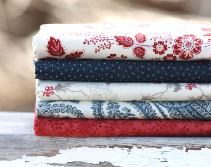 Holly Woods by 3 Sisters for Moda ~ 5 Fat Quarter Bundle ~ Red Navy and Cream ~