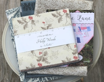 "Cottage Lane Quilt Kit ~ Holly Woods by 3 Sisters ~ Blue Paisley Backing Included ~ 20"" x 37"""