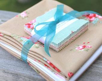 "Moda Love Mini Charm Kit ~ Caroline by Brenda Riddle ~ Cobblestone Floral Binding & Backing 12"" x 12"""