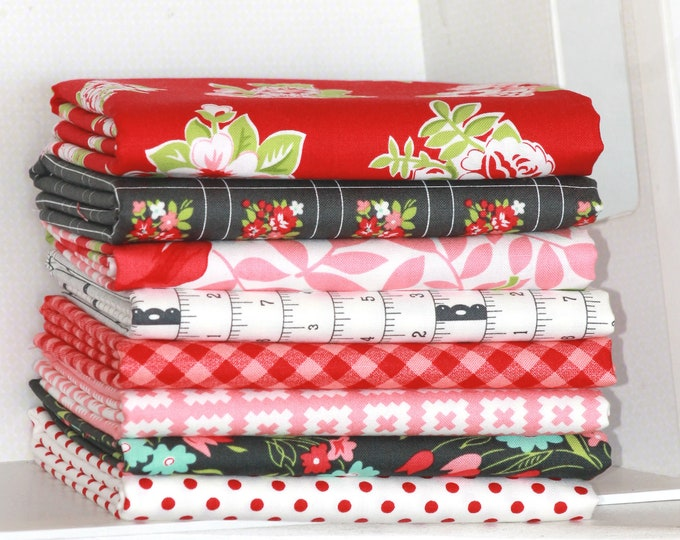 Little Snippets by Bonnie & Camille for Moda ~ 8 Fat Quarter Bundle ~ Coral, Red and Charcoal Bundle