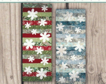 Snowflake Kisses Quilt Pattern Tablerunner 13.5 x 36.5 Holiday