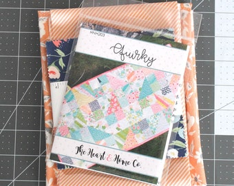 Quirky Quilt Kit ~ Garden Variety by Lella Boutique~ Orange Stripe Binding & Orange Floral Backing