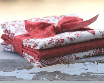 Holly Woods by 3 Sisters for Moda ~ 3 Half Yard Bundle Floral Bundle Red and Creams
