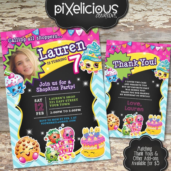 SHOPKINS Custom Printable Birthday Invitation