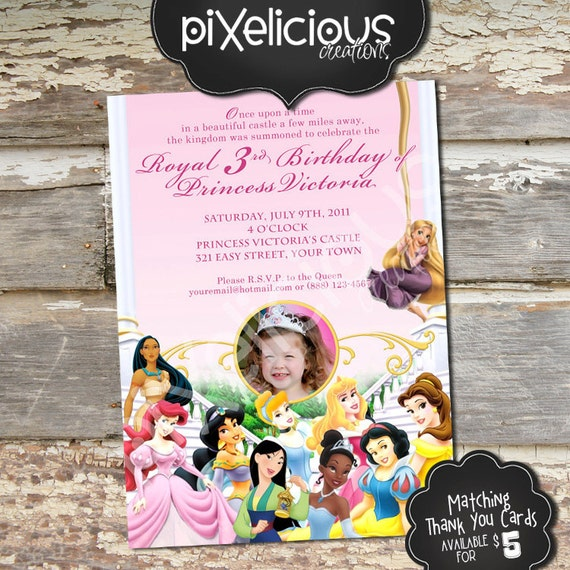 DISNEY PRINCESS 2 Custom Printable Birthday Invitation