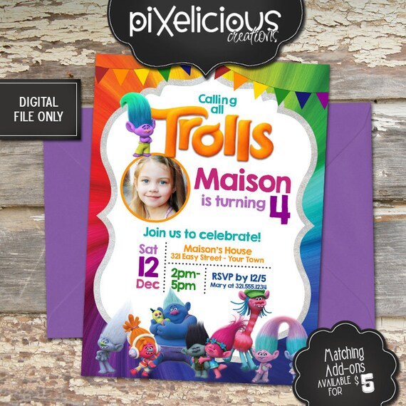 TROLLS PARTY Custom Printable Birthday Invitation