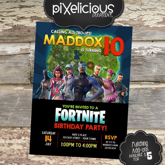 Fortnite Custom Printable Birthday Invitation Digital File We