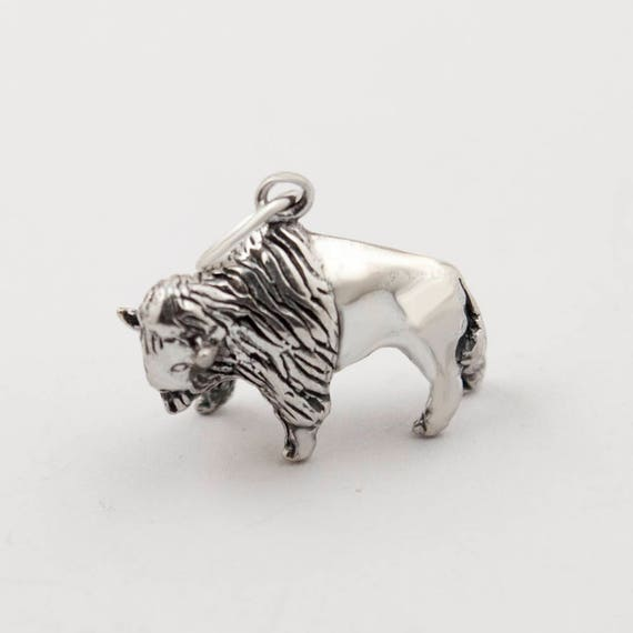Bison Charm Sterling Silver Charm Buffalo Pendant Sterling Silver Pendant Buffalo Charm Buffalo Stamping Blank