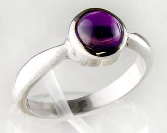 Amethyst Circle Sterling Silver Ring