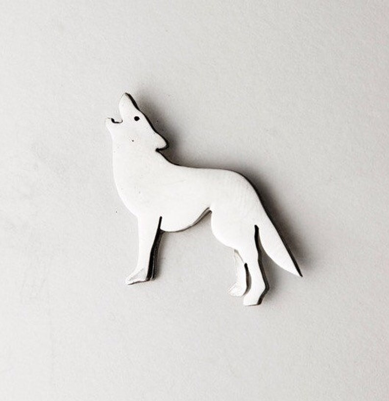 2a9c645f9fa4 Howling Wolf Sterling SIlver Tie Tac Lapel Pin Men's   Etsy
