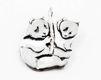 Panda and Cub Sterling Silver Pendant