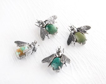 Don't Bug Me Turquoise Sterling Silver Pin Brooch, Natural Turquoise Bee Pin, Sterling Silver Insect brooch