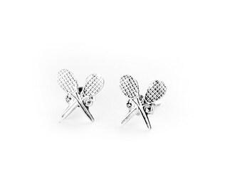 Tennis Racket Sterling Silver Post Earrings