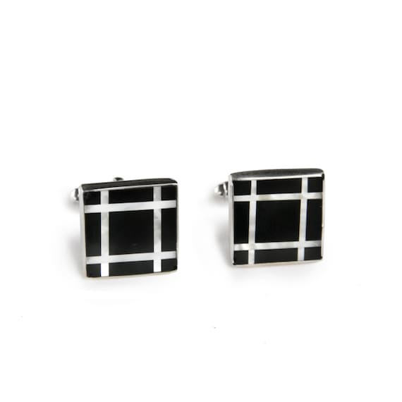 Rose Gold Cufflinks Samples In Onyx Mother Of Pearl Cuff Links