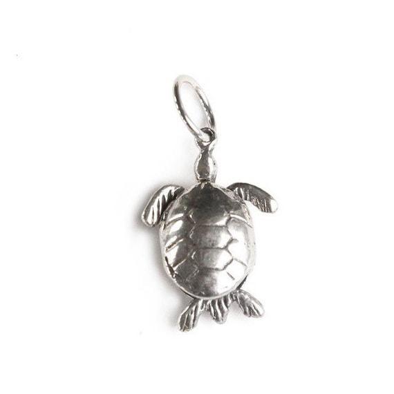 little silver swimming  turtle pendant