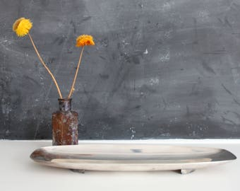 """Long Mid Century Footed Silver Tray 