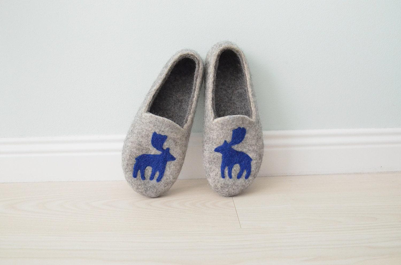 Feutrée pour homme homme homme pantoufles, chaussons gris avec élan, pantoufles en laine maison, pantoufles en laine, chaud pantoufles, sabots en laine 2e9aff