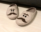 Felted slippers, Warm house slippers, Mens slippers with moustache, Winter house shoes, Mens wool slippers for cold feet, felt shoes men