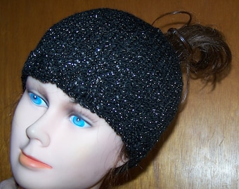 b6ed56e40 Messy Bun Hat Black   Sparkly Gold Hand Knit Ponytail Beanie New Custom  Made to Order