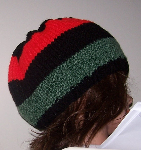 Slouchy Beanie Hat Pan African Flag Colors Stripe Red Green  7c6b63cadfb