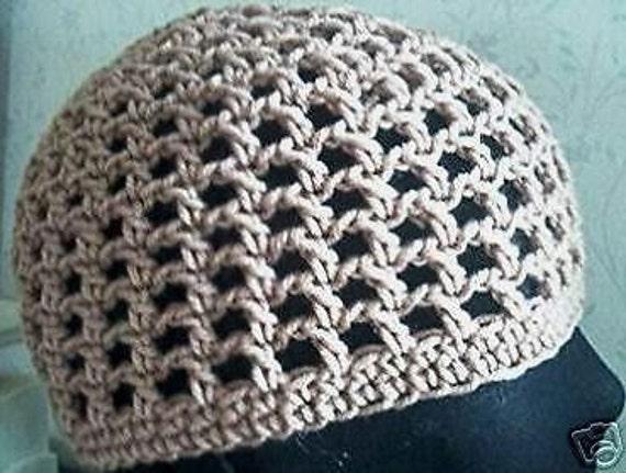 Mesh Beanie Hat Hand Crochet Skull Cap Hat Adult S-M Made to  e4013306d6db