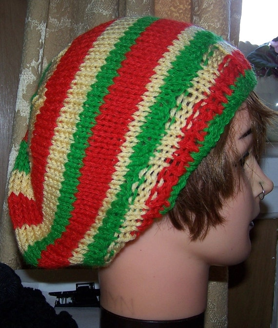3d7d247044e Slouchy Beanie Green Red Yellow or Black Stripe Hand Knit