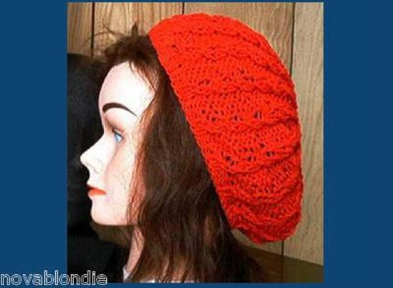 Slouchy Cable Knit Beret Beanie Tam Hat Pattern Knitting Etsy