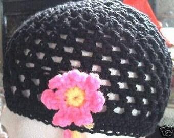 Mesh Flower Beanie Hat Hand Crochet Skull Cap Hat Custom Choice Color Acrylic Flower Anklet Bracelet  Beach Summer MADE TO ORDER