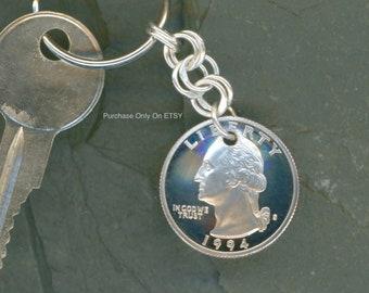 25th Birthday Gift Ideas Handmade 1994 Quarter Keychain Sterling Silver Chain 25th Anniversary Gift Ideas For Men & 25th anniversary | Etsy