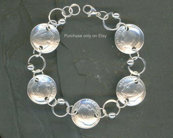 70th Birthday Gift 1949 Dime Coin Beaded Silver Bracelet Jewelry Women Unique Gifts For Grandma Wife