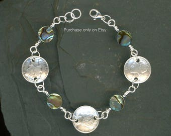 75th Birthday Gift Ideas For Women 1944 Dime Coin Paua Shell Bracelet Jewelry Grandmother