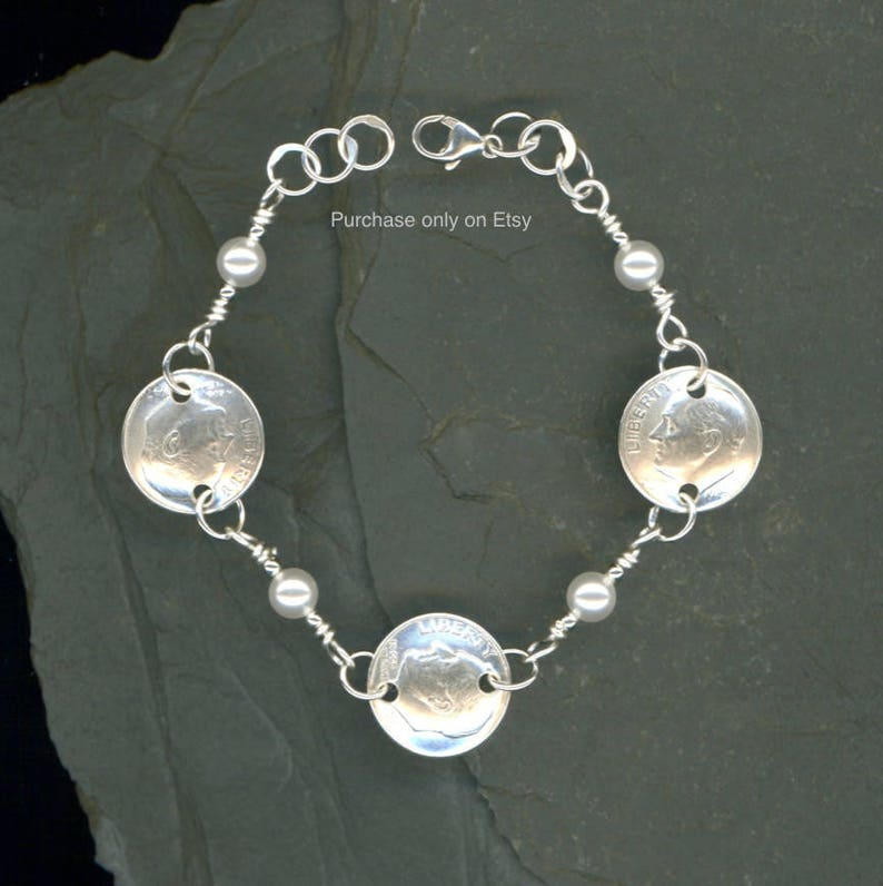 defc5ff94899b 71st Birthday Gift 1948 Dime Pearl Bracelet 71st Gift Jewelry 1948 71st  Birthday Gift for Women Birthday Gift for Mother Gift for Grandma