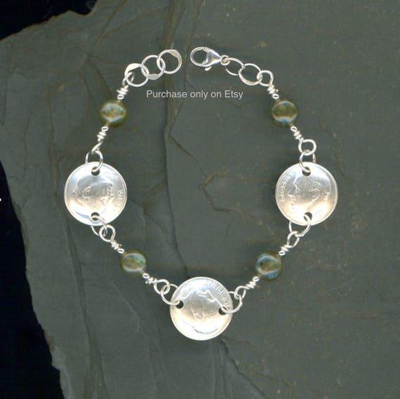 70th Birthday Gift 1948 Dime Coin Labradorite Bracelet