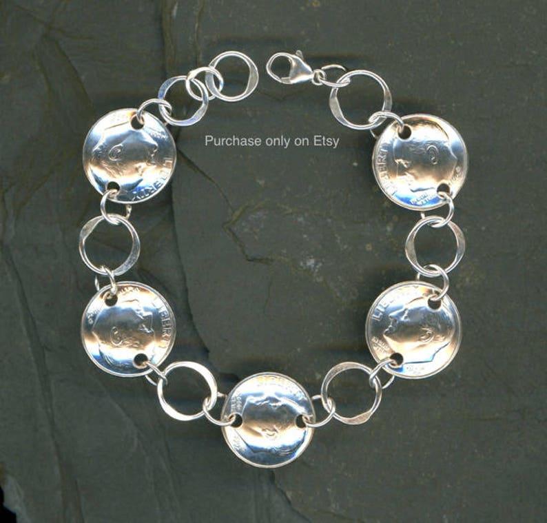 25th Birthday Gift Jewelry Women 1994 Dime Silver Bracelet