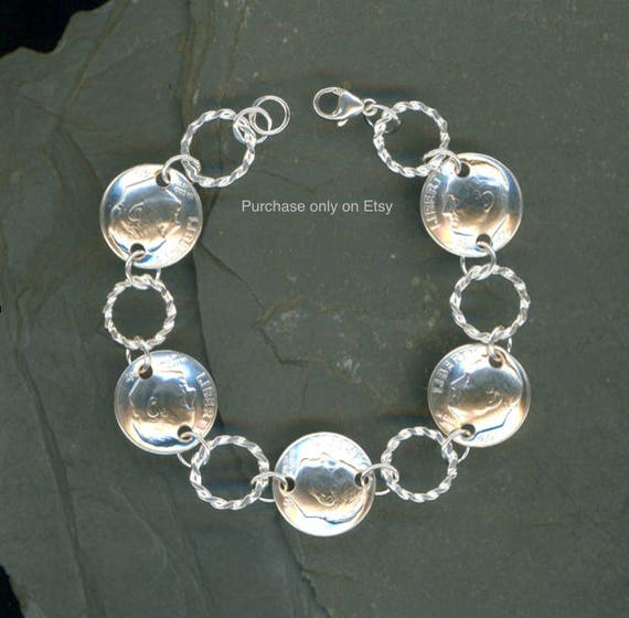 51st Birthday Gift Jewelry Women 1968 Dime Coin Twisted Silver
