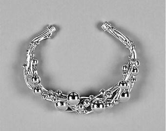 Wire Wrapped Cuff Bracelet Silver Wire Bracelet Beaded Sterling Silver Cuff Wire Jewelry